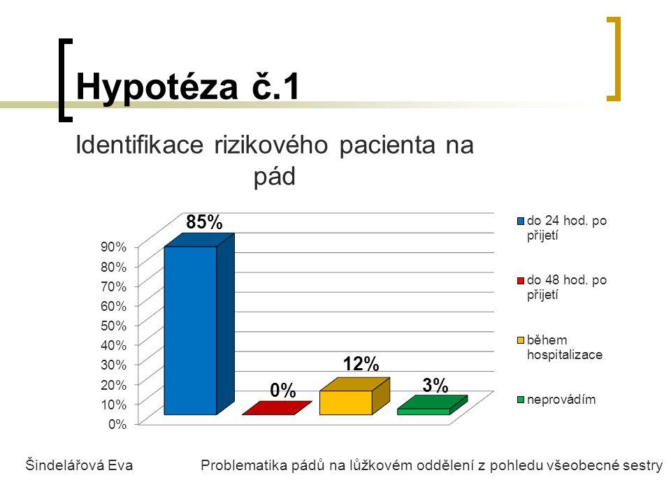 Hypotéza č.1 Identifikace rizikového pacienta na pád Šindelářová Eva Problematika pádů na lůžkovém oddělení z pohledu všeobecné sestry