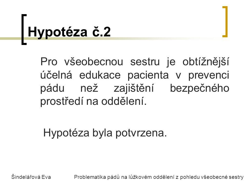 Hypotéza č.2 Pro všeobecnou sestru je obtížnější účelná edukace pacienta v prevenci pádu než zajištění bezpečného prostředí na oddělení. Hypotéza byla