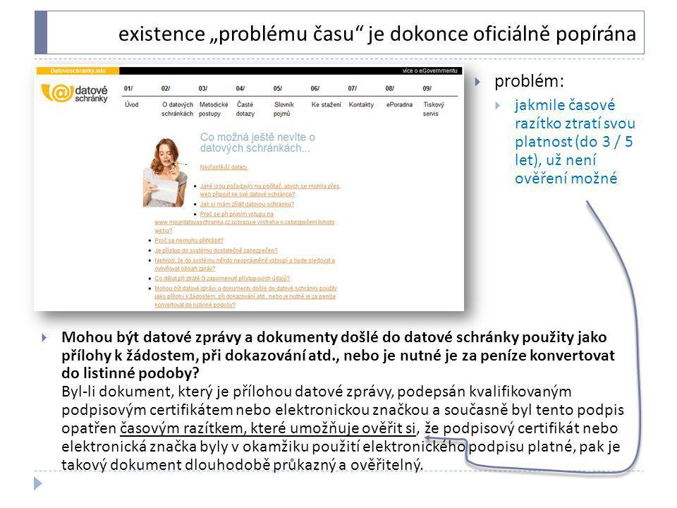 """existence """"problému času"""" je dokonce oficiálně popírána  Mohou být datové zprávy a dokumenty došlé do datové schránky použity jako přílohy k žádostem"""