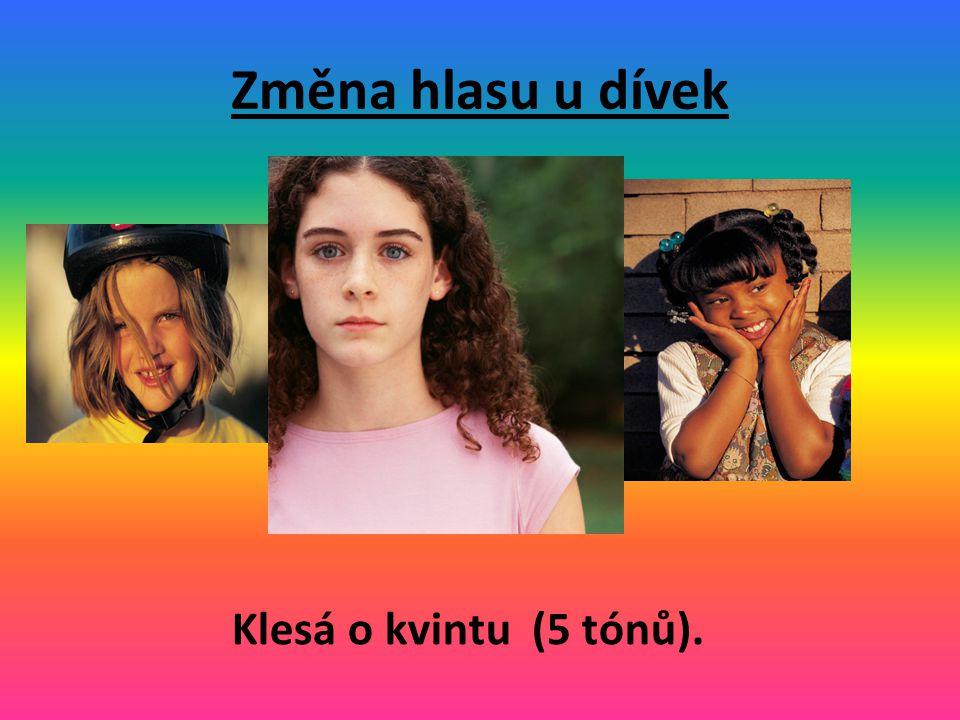 Změna hlasu u dívek Klesá o kvintu (5 tónů).