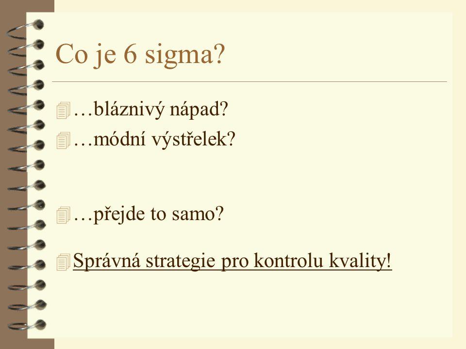 Co je 6 sigma? 4 …bláznivý nápad? 4 …módní výstřelek? 4 …přejde to samo? 4 Správná strategie pro kontrolu kvality!