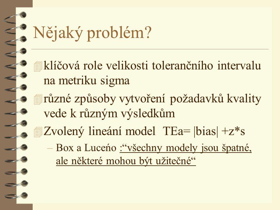 Nějaký problém? 4 klíčová role velikosti tolerančního intervalu na metriku sigma 4 různé způsoby vytvoření požadavků kvality vede k různým výsledkům 4