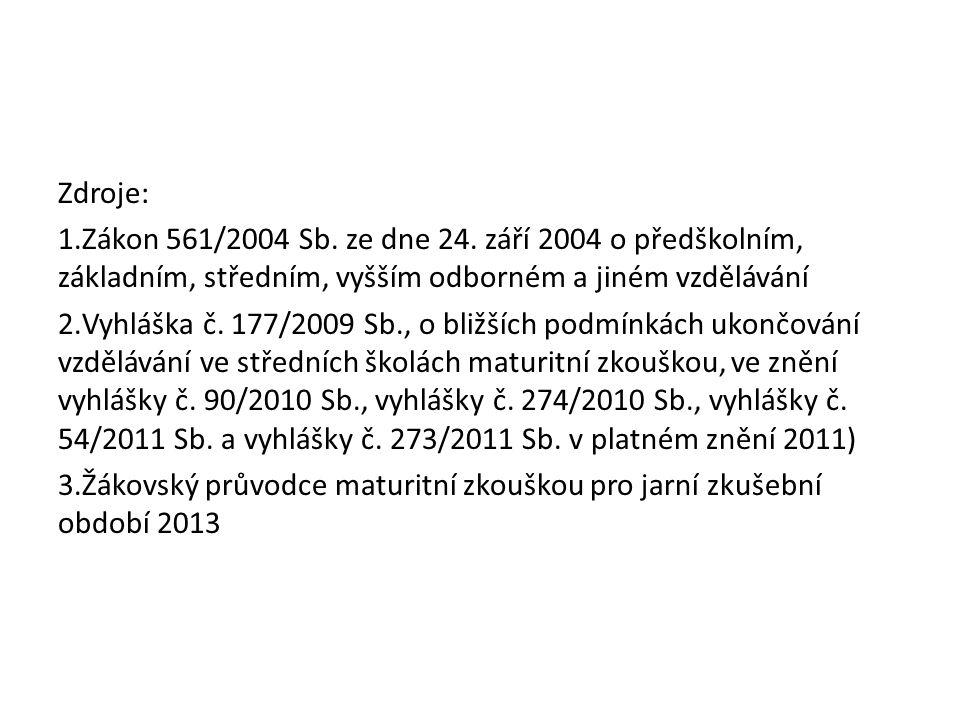 Zdroje: 1.Zákon 561/2004 Sb. ze dne 24. září 2004 o předškolním, základním, středním, vyšším odborném a jiném vzdělávání 2.Vyhláška č. 177/2009 Sb., o