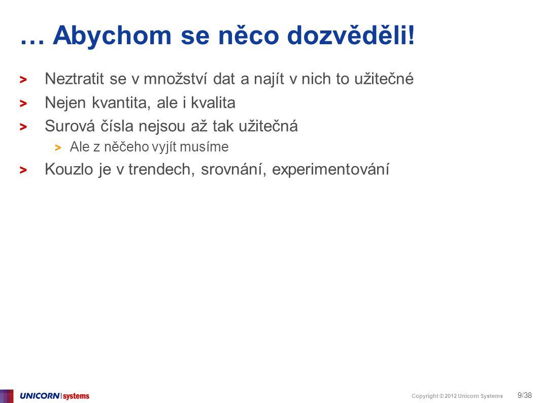 Copyright © 2012 Unicorn Systems 20/38 Analytika není reporting > HighriseHQ - Hostované CRM > Krok 3: Co to zkombinovat?
