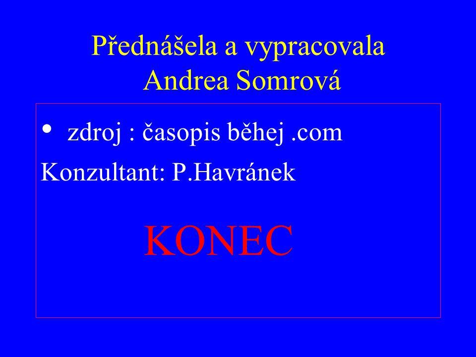 Přednášela a vypracovala Andrea Somrová zdroj : časopis běhej.com Konzultant: P.Havránek KONEC
