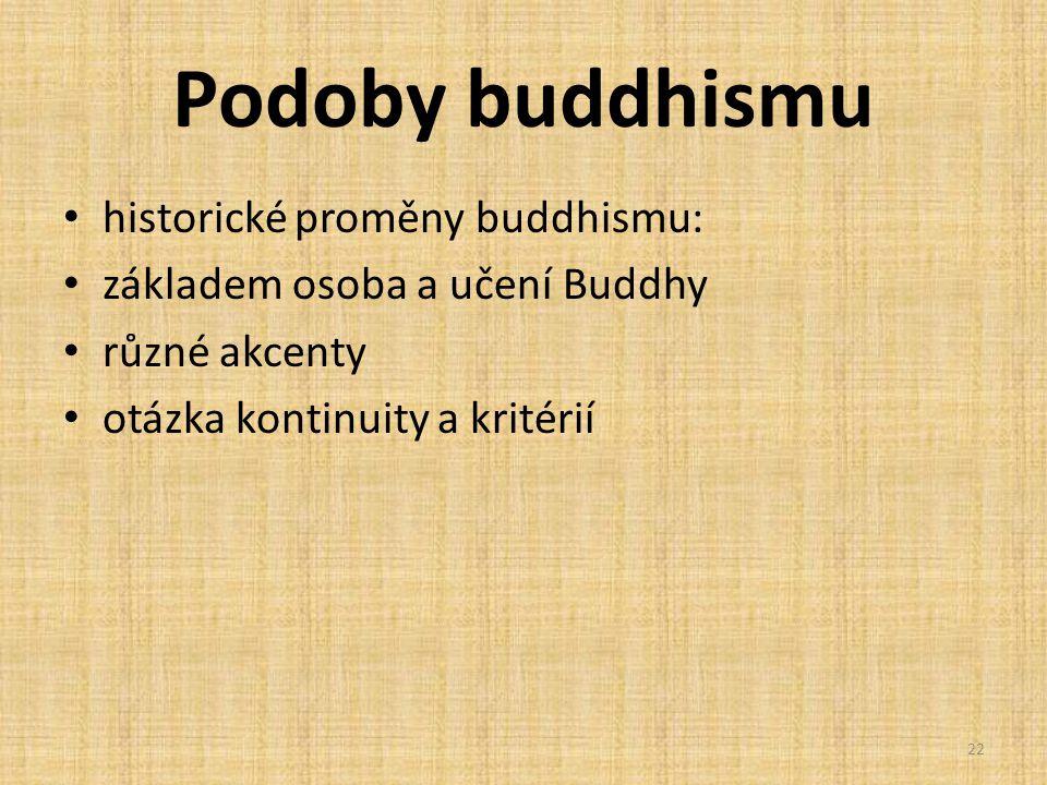 Podoby buddhismu historické proměny buddhismu: základem osoba a učení Buddhy různé akcenty otázka kontinuity a kritérií 22
