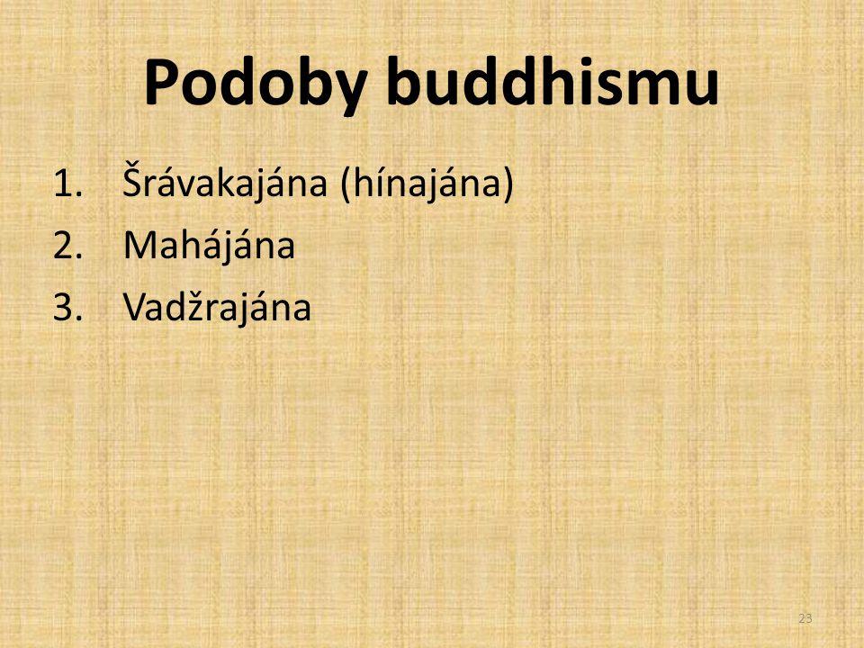 Podoby buddhismu 1.Šrávakajána (hínajána) 2.Mahájána 3.Vadžrajána 23