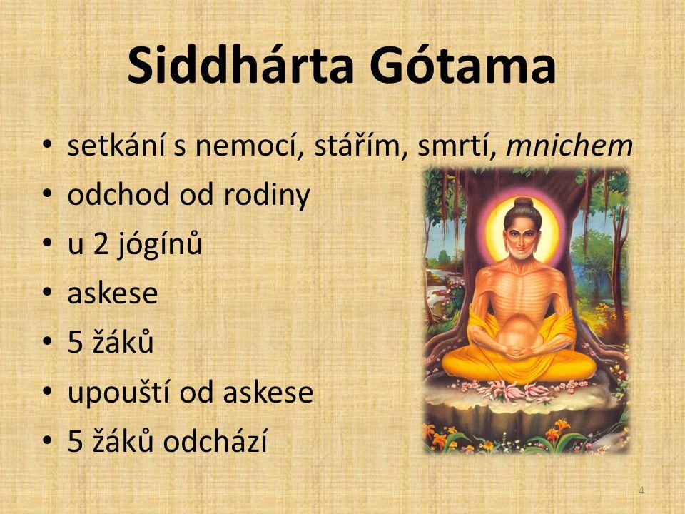 Siddhárta Gótama setkání s nemocí, stářím, smrtí, mnichem odchod od rodiny u 2 jógínů askese 5 žáků upouští od askese 5 žáků odchází 4
