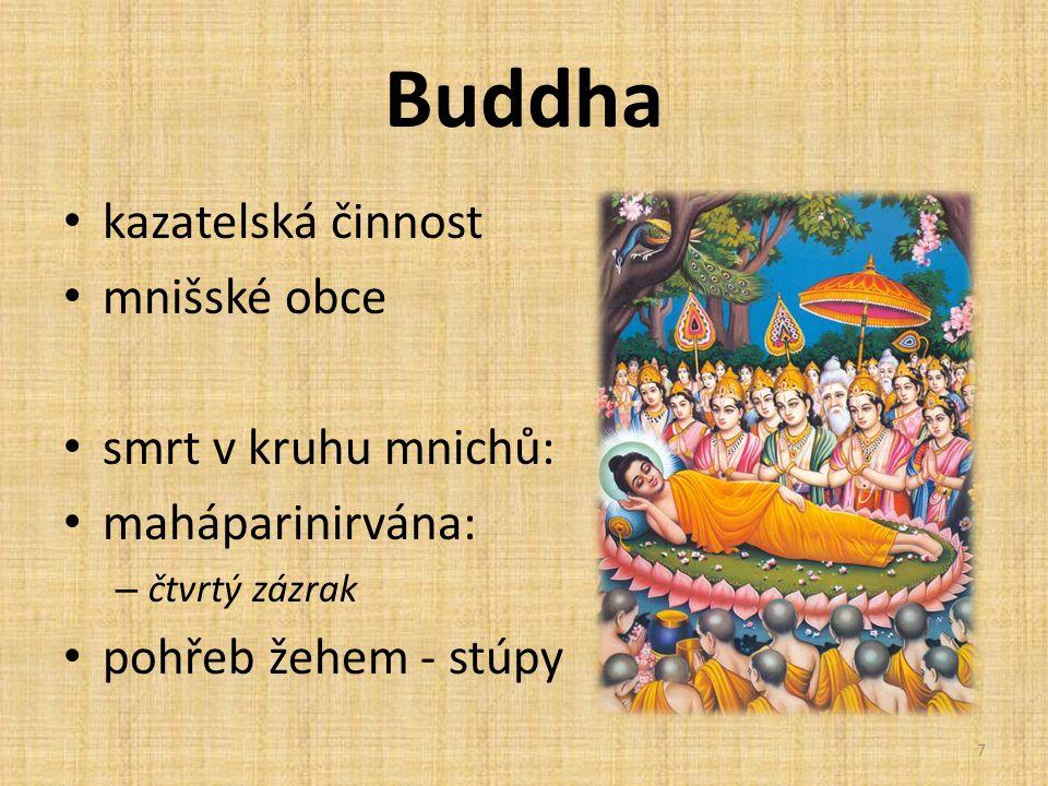 Buddha kazatelská činnost mnišské obce smrt v kruhu mnichů: maháparinirvána: – čtvrtý zázrak pohřeb žehem - stúpy 7