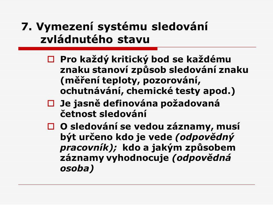 7. Vymezení systému sledování zvládnutého stavu  Pro každý kritický bod se každému znaku stanoví způsob sledování znaku (měření teploty, pozorování,