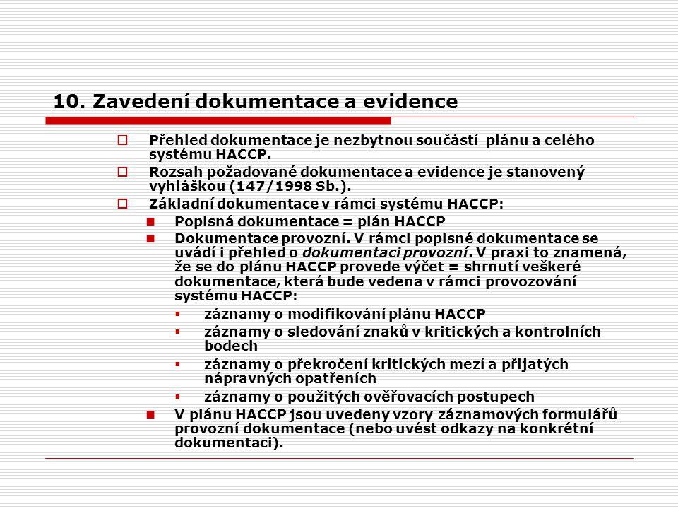 10. Zavedení dokumentace a evidence  Přehled dokumentace je nezbytnou součástí plánu a celého systému HACCP.  Rozsah požadované dokumentace a eviden