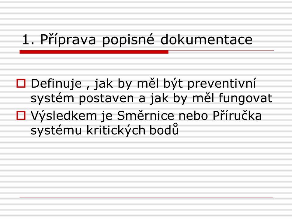 1. Příprava popisné dokumentace  Definuje, jak by měl být preventivní systém postaven a jak by měl fungovat  Výsledkem je Směrnice nebo Příručka sys