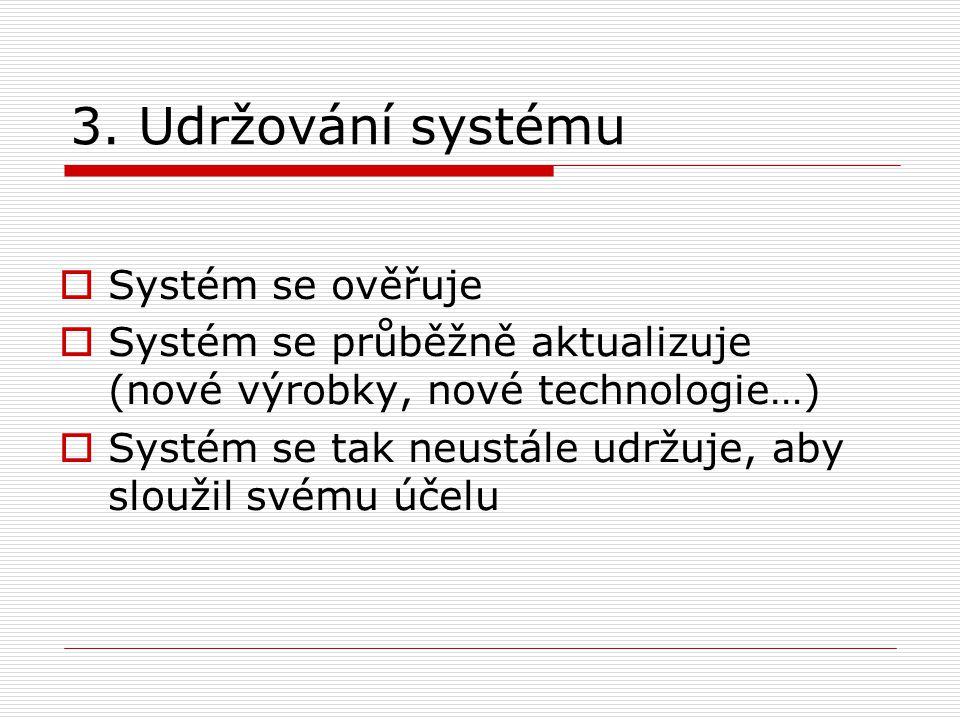 3. Udržování systému  Systém se ověřuje  Systém se průběžně aktualizuje (nové výrobky, nové technologie…)  Systém se tak neustále udržuje, aby slou