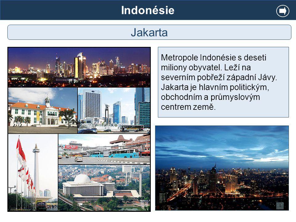 Indonésie Jakarta Metropole Indonésie s deseti miliony obyvatel. Leží na severním pobřeží západní Jávy. Jakarta je hlavním politickým, obchodním a prů