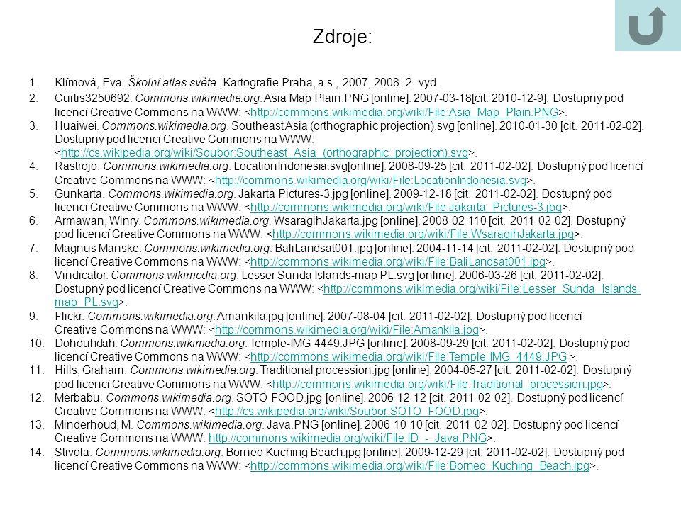 1.Klímová, Eva. Školní atlas světa. Kartografie Praha, a.s., 2007, 2008. 2. vyd. 2.Curtis3250692. Commons.wikimedia.org. Asia Map Plain.PNG [online].