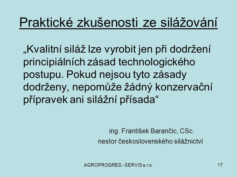 """AGROPROGRES - SERVIS s.r.o.17 Praktické zkušenosti ze silážování """"Kvalitní siláž lze vyrobit jen při dodržení principiálních zásad technologického pos"""