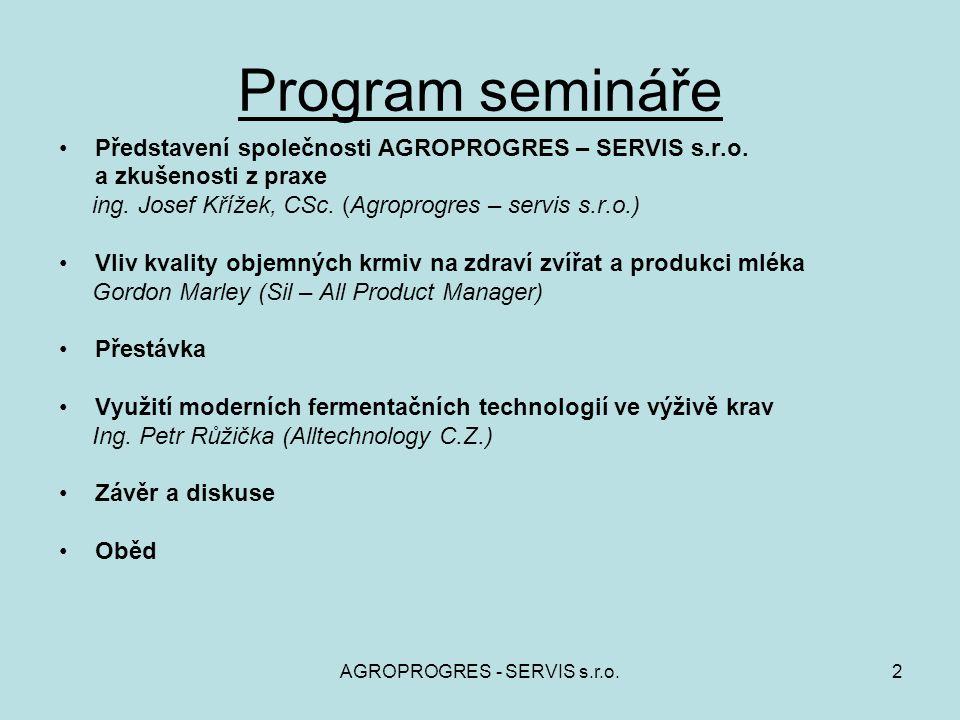 2 Program semináře Představení společnosti AGROPROGRES – SERVIS s.r.o. a zkušenosti z praxe ing. Josef Křížek, CSc. (Agroprogres – servis s.r.o.) Vliv
