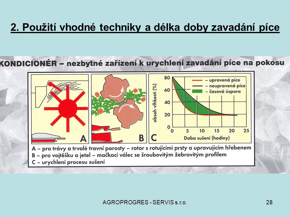AGROPROGRES - SERVIS s.r.o.28 2. Použití vhodné techniky a délka doby zavadání píce