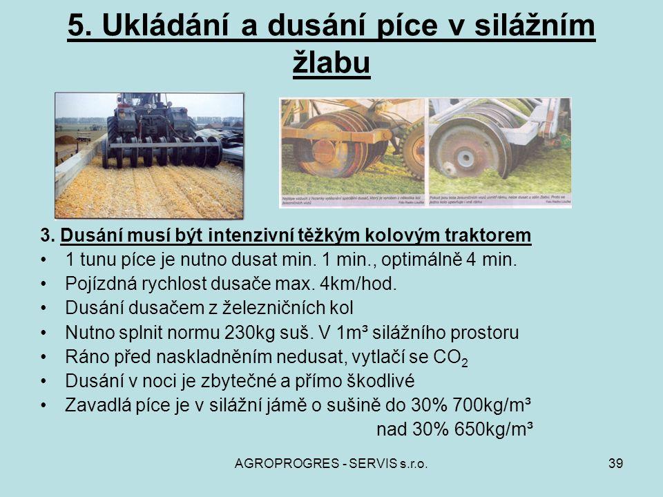 AGROPROGRES - SERVIS s.r.o.39 5. Ukládání a dusání píce v silážním žlabu 3. Dusání musí být intenzivní těžkým kolovým traktorem 1 tunu píce je nutno d