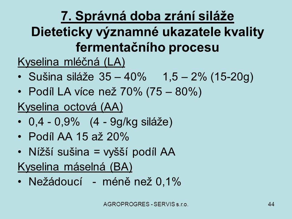 AGROPROGRES - SERVIS s.r.o.44 7. Správná doba zrání siláže Dieteticky významné ukazatele kvality fermentačního procesu Kyselina mléčná (LA) Sušina sil