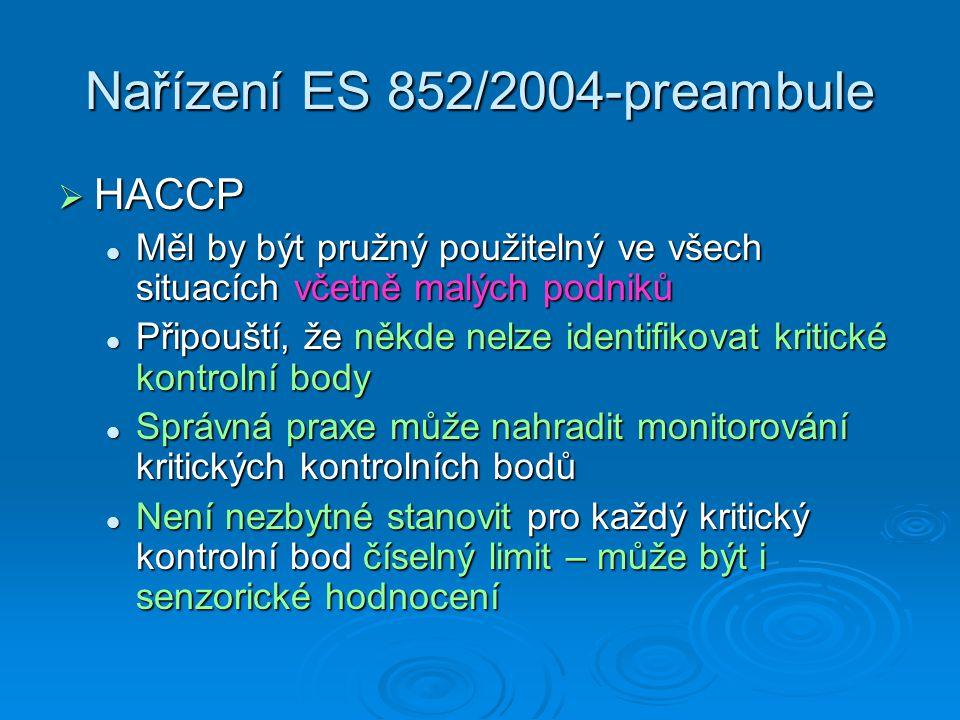 Nařízení ES 852/2004-preambule  HACCP Měl by být pružný použitelný ve všech situacích včetně malých podniků Měl by být pružný použitelný ve všech sit