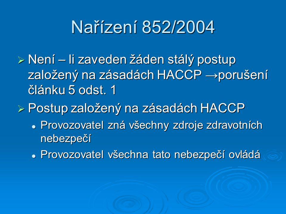 Nařízení 852/2004  Není – li zaveden žáden stálý postup založený na zásadách HACCP →porušení článku 5 odst. 1  Postup založený na zásadách HACCP Pro