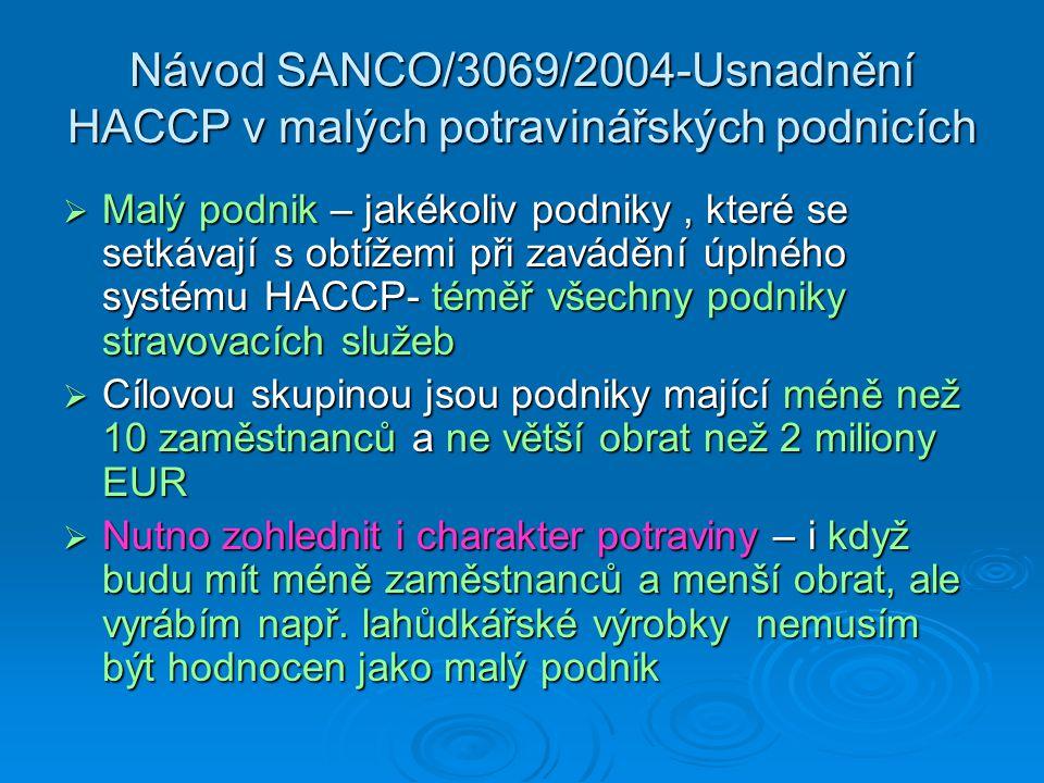 Návod SANCO/3069/2004-Usnadnění HACCP v malých potravinářských podnicích  Malý podnik – jakékoliv podniky, které se setkávají s obtížemi při zavádění