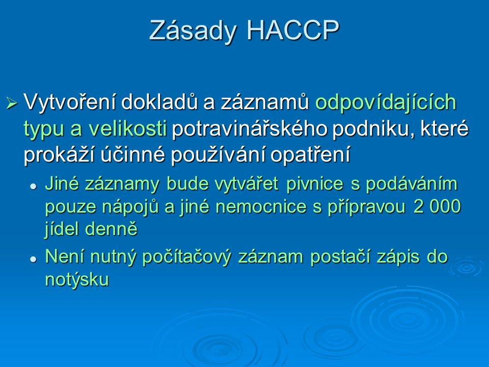 Zásady HACCP  Vytvoření dokladů a záznamů odpovídajících typu a velikosti potravinářského podniku, které prokáží účinné používání opatření Jiné zázna