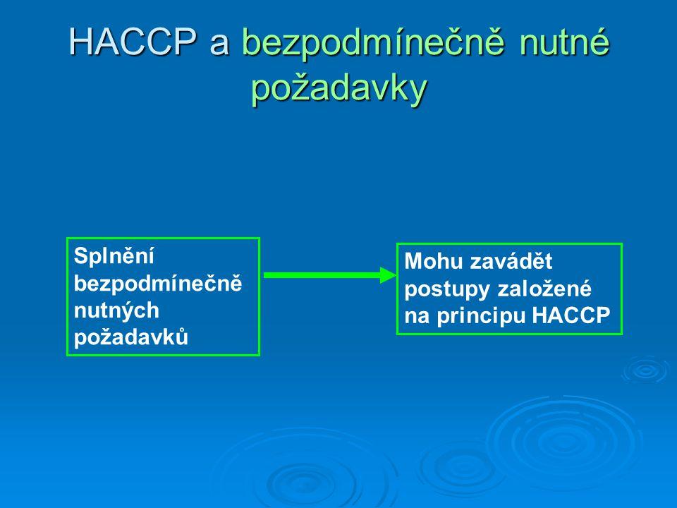 HACCP a bezpodmínečně nutné požadavky Splnění bezpodmínečně nutných požadavků Mohu zavádět postupy založené na principu HACCP