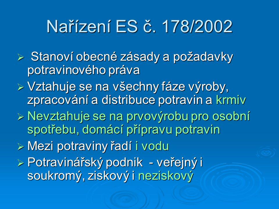 Nařízení ES č. 178/2002  Stanoví obecné zásady a požadavky potravinového práva  Vztahuje se na všechny fáze výroby, zpracování a distribuce potravin