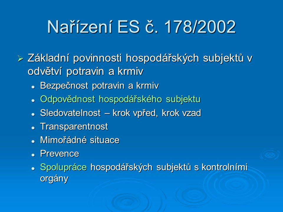 Nařízení ES č. 178/2002  Základní povinnosti hospodářských subjektů v odvětví potravin a krmiv Bezpečnost potravin a krmiv Bezpečnost potravin a krmi
