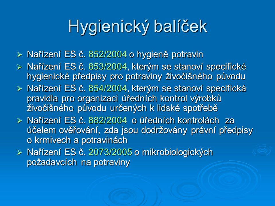 Hygienický balíček  Nařízení ES č. 852/2004 o hygieně potravin  Nařízení ES č. 853/2004, kterým se stanoví specifické hygienické předpisy pro potrav