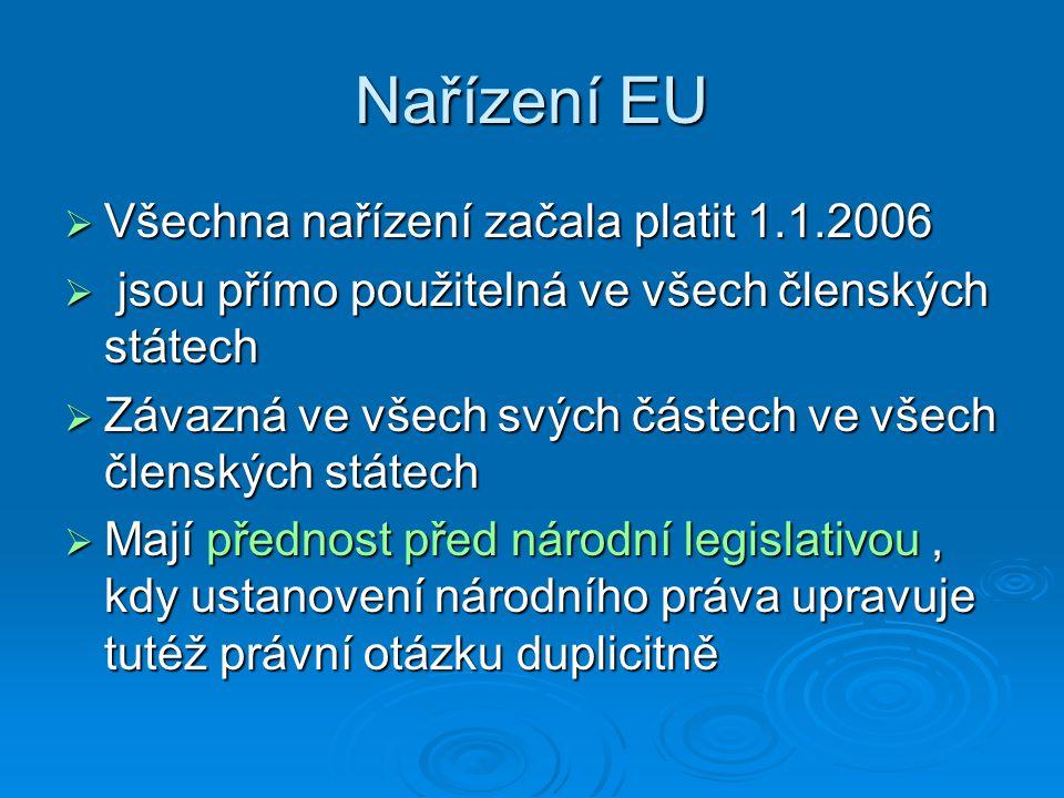 Nařízení EU  Všechna nařízení začala platit 1.1.2006  jsou přímo použitelná ve všech členských státech  Závazná ve všech svých částech ve všech čle