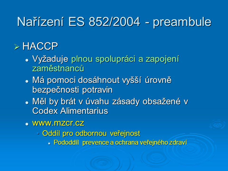 Nařízení ES 852/2004 - preambule  HACCP Vyžaduje plnou spolupráci a zapojení zaměstnanců Vyžaduje plnou spolupráci a zapojení zaměstnanců Má pomoci d