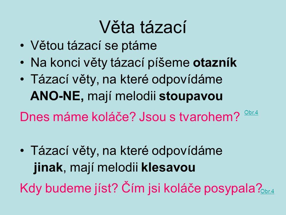 Věta tázací Větou tázací se ptáme Na konci věty tázací píšeme otazník Tázací věty, na které odpovídáme ANO-NE, mají melodii stoupavou Dnes máme koláče