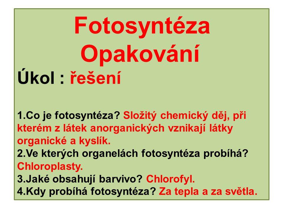 Fotosyntéza Opakování Úkol : řešení 1.Co je fotosyntéza.