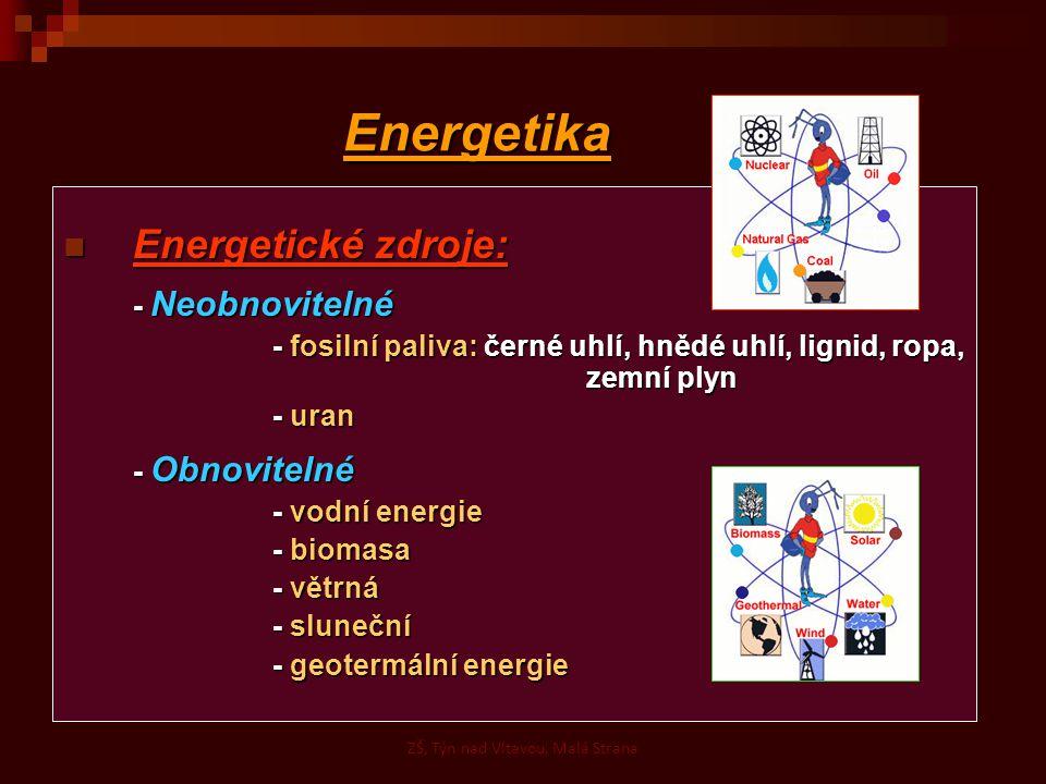 Energetika Energetické zdroje: Energetické zdroje: - Neobnovitelné - fosilní paliva: černé uhlí, hnědé uhlí, lignid, ropa, zemní plyn - uran - Obnovitelné - vodní energie - biomasa - větrná - sluneční - geotermální energie ZŠ, Týn nad Vltavou, Malá Strana