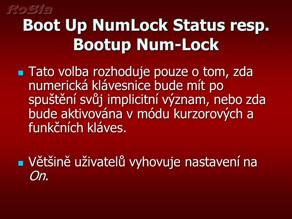 Boot Up NumLock Status resp.