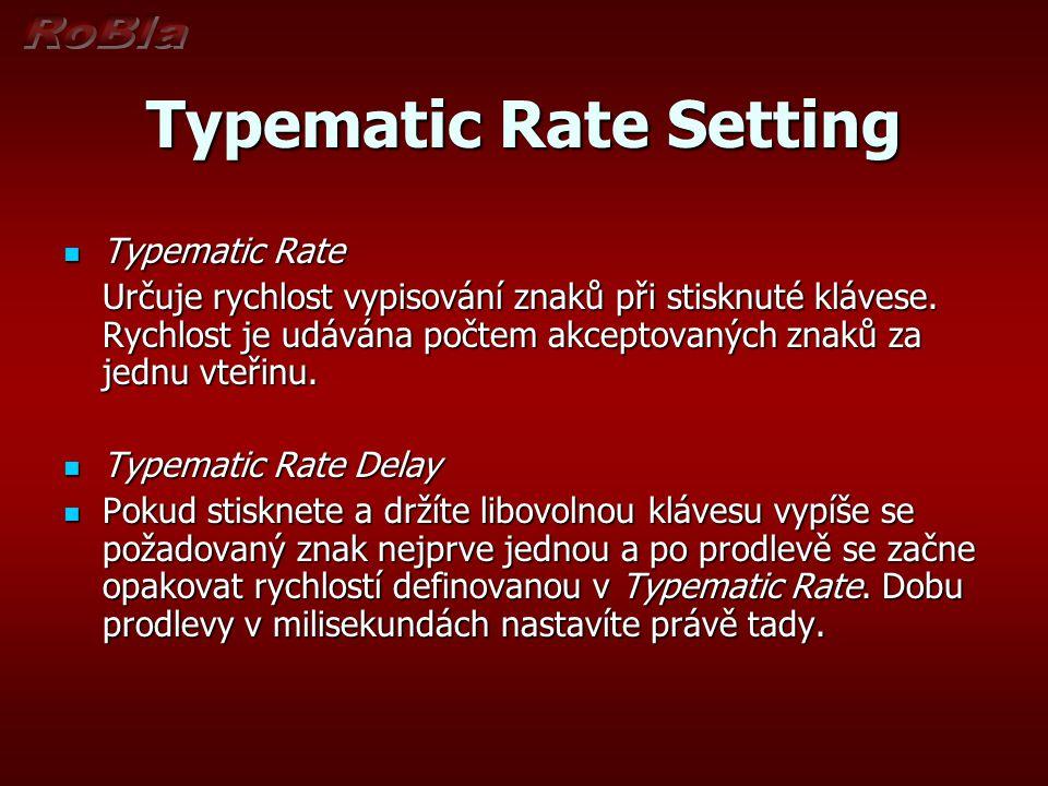 Typematic Rate Setting Typematic Rate Typematic Rate Určuje rychlost vypisování znaků při stisknuté klávese. Rychlost je udávána počtem akceptovaných