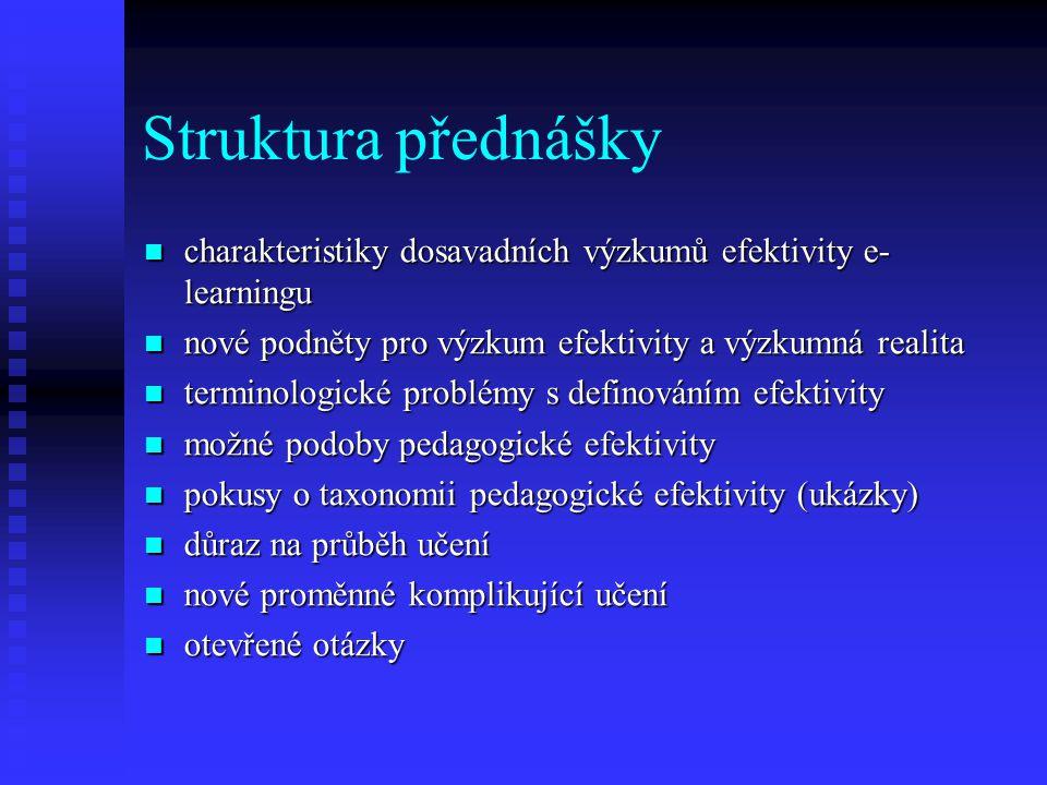 Struktura přednášky charakteristiky dosavadních výzkumů efektivity e- learningu charakteristiky dosavadních výzkumů efektivity e- learningu nové podněty pro výzkum efektivity a výzkumná realita nové podněty pro výzkum efektivity a výzkumná realita terminologické problémy s definováním efektivity terminologické problémy s definováním efektivity možné podoby pedagogické efektivity možné podoby pedagogické efektivity pokusy o taxonomii pedagogické efektivity (ukázky) pokusy o taxonomii pedagogické efektivity (ukázky) důraz na průběh učení důraz na průběh učení nové proměnné komplikující učení nové proměnné komplikující učení otevřené otázky otevřené otázky
