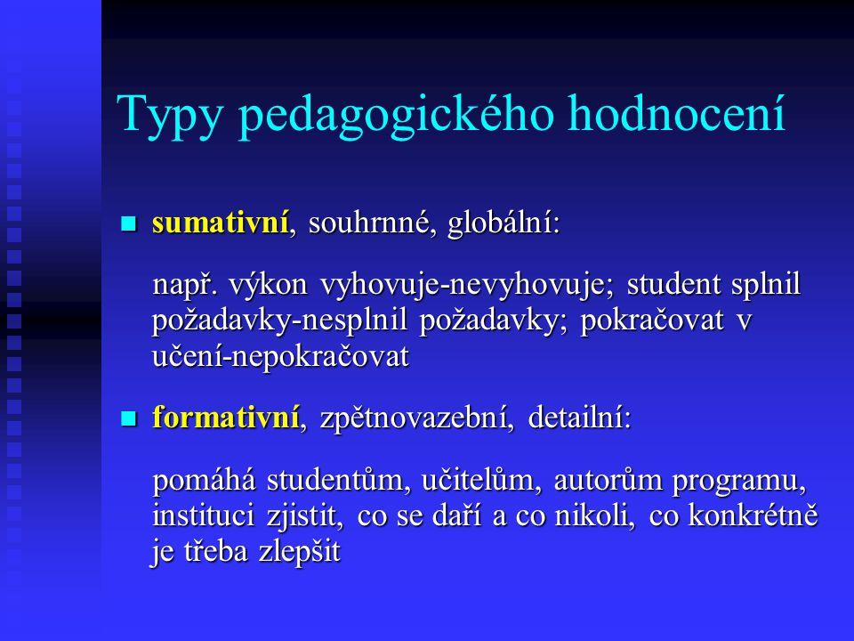 Typy pedagogického hodnocení sumativní, souhrnné, globální: sumativní, souhrnné, globální: např. výkon vyhovuje-nevyhovuje; student splnil požadavky-n