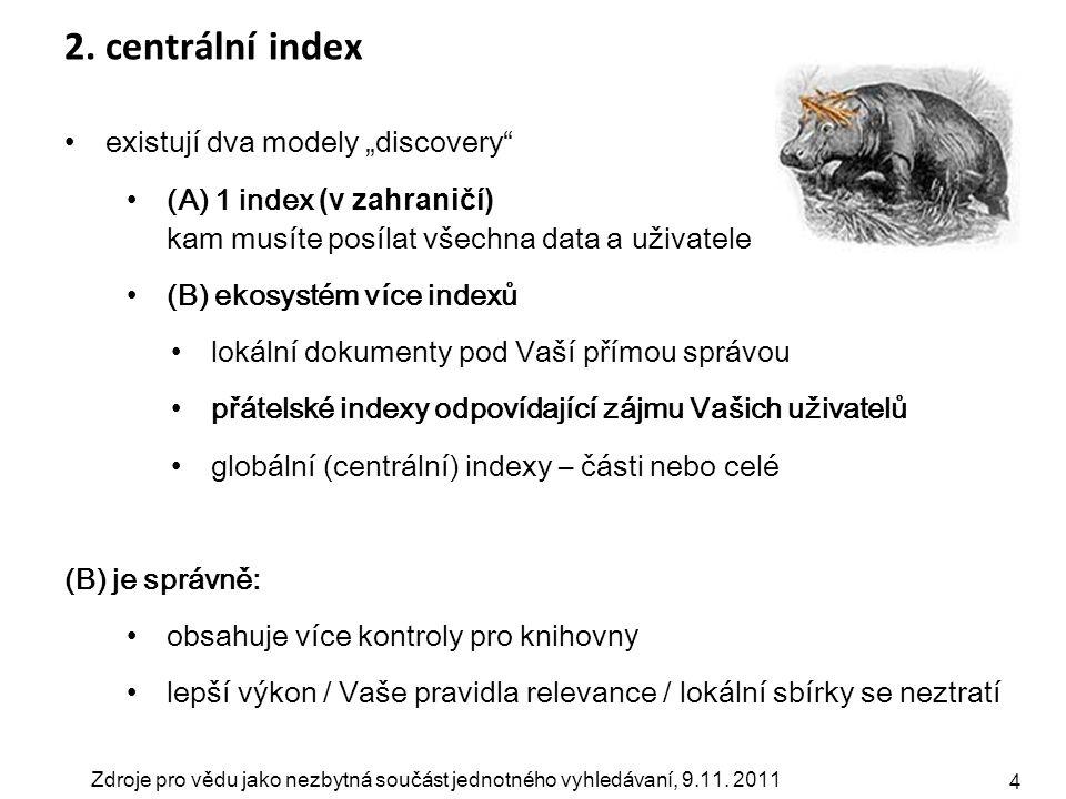 """Zdroje pro vědu jako nezbytná součást jednotného vyhledávaní, 9.11. 2011 4 2. centrální index existují dva modely """"discovery"""" (A) 1 index (v zahraničí"""