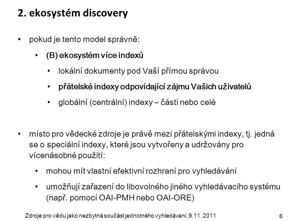 Zdroje pro vědu jako nezbytná součást jednotného vyhledávaní, 9.11. 2011 6 2. ekosystém discovery pokud je tento model správně: (B) ekosystém více ind