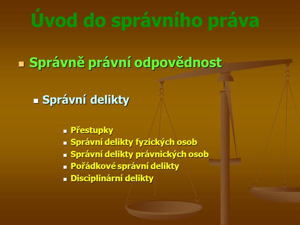 Úvod do správního práva Správně právní odpovědnost Správně právní odpovědnost Správní delikty Správní delikty Přestupky Přestupky Správní delikty fyzi