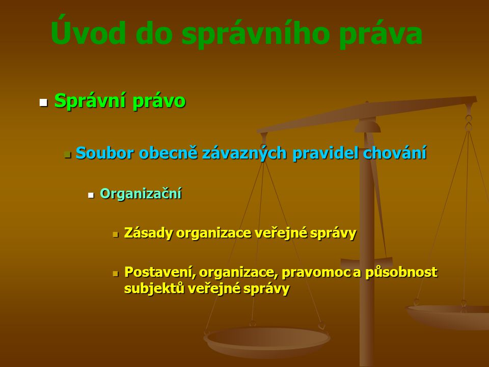 Úvod do správního práva Správní právo Správní právo Soubor obecně závazných pravidel chování Soubor obecně závazných pravidel chování Hmotné Hmotné Hmotně právní úprava jednotlivých oblastí a úseků veřejné správy Hmotně právní úprava jednotlivých oblastí a úseků veřejné správy Podmínky a předpoklady realizace práv a povinností adresátů veřejně správního působení Podmínky a předpoklady realizace práv a povinností adresátů veřejně správního působení