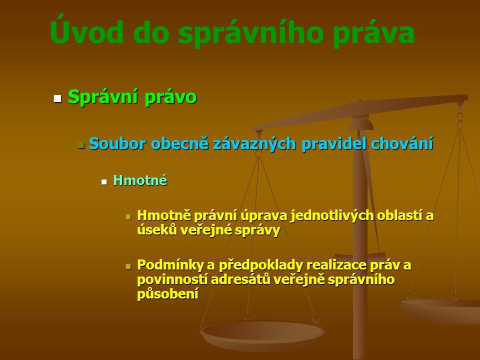 Úvod do správního práva Správní právo Správní právo Soubor obecně závazných pravidel chování Soubor obecně závazných pravidel chování Hmotné Hmotné Hm