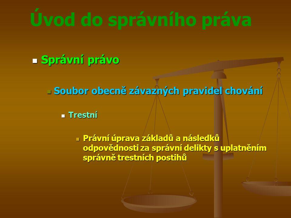 Úvod do správního práva Správní právo Správní právo Soubor obecně závazných pravidel chování Soubor obecně závazných pravidel chování Trestní Trestní