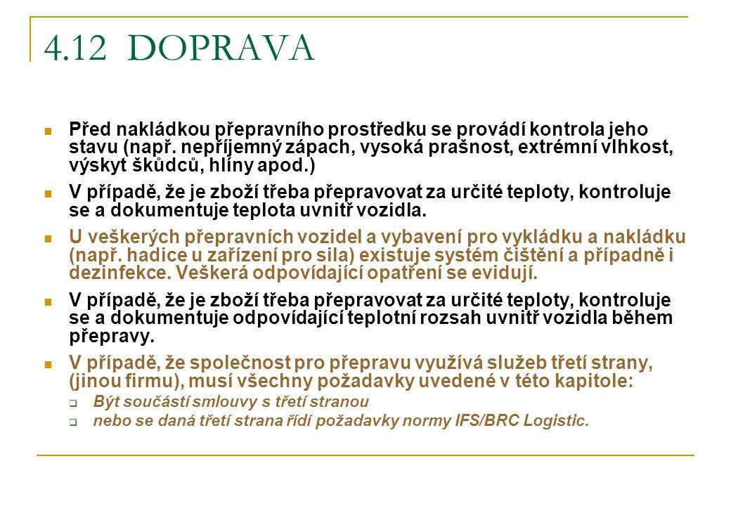 4.12 DOPRAVA Před nakládkou přepravního prostředku se provádí kontrola jeho stavu (např. nepříjemný zápach, vysoká prašnost, extrémní vlhkost, výskyt