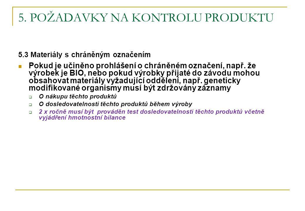 5. POŽADAVKY NA KONTROLU PRODUKTU 5.3 Materiály s chráněným označením Pokud je učiněno prohlášení o chráněném označení, např. že výrobek je BIO, nebo