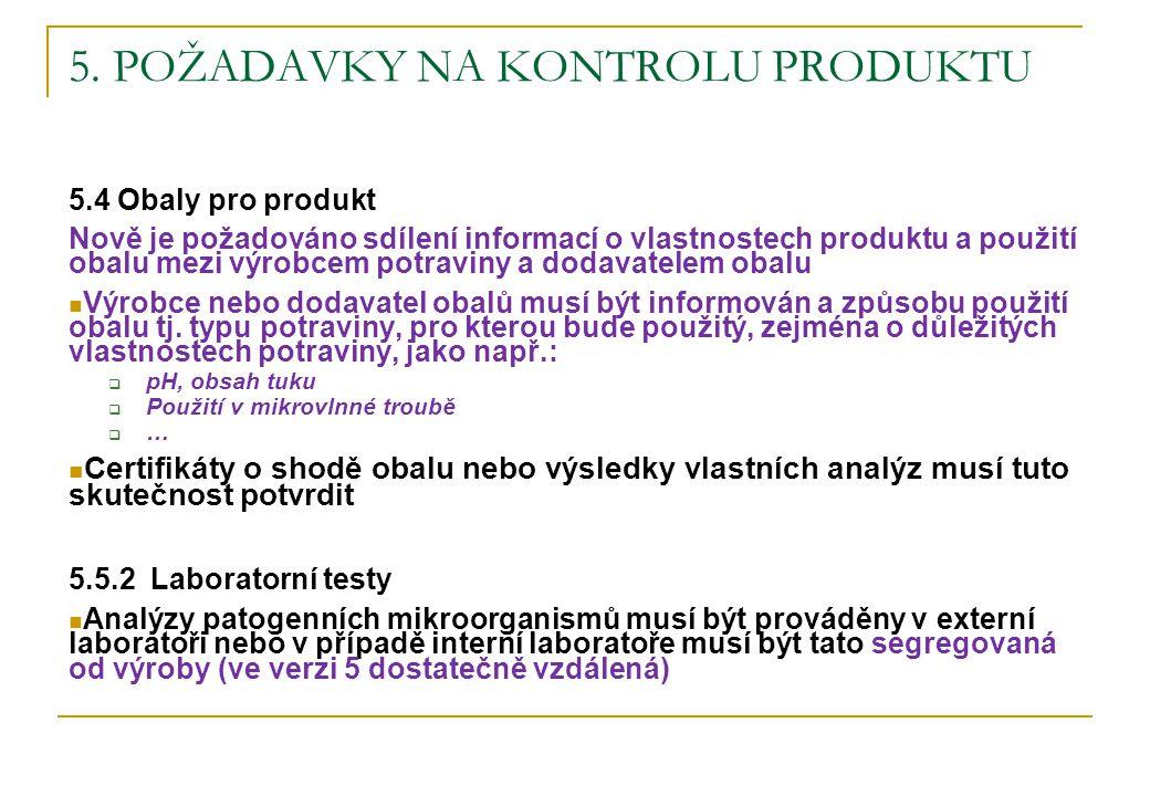 5. POŽADAVKY NA KONTROLU PRODUKTU 5.4 Obaly pro produkt Nově je požadováno sdílení informací o vlastnostech produktu a použití obalu mezi výrobcem pot